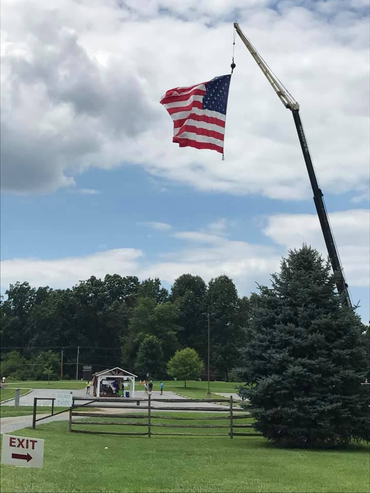 USA flag on crane image